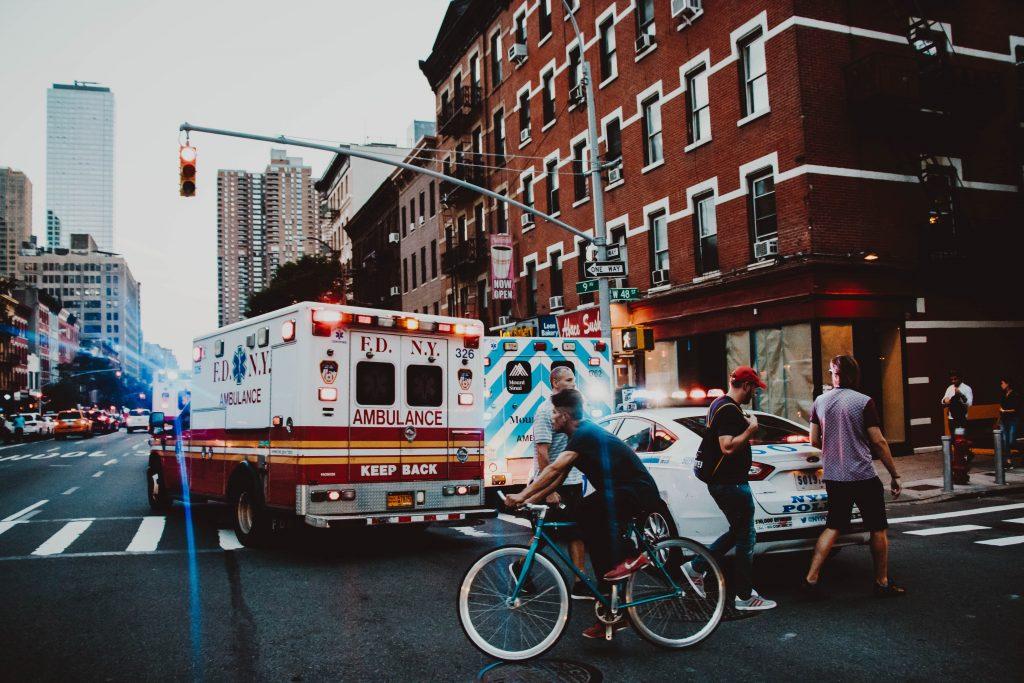 Hospital ambulance transporting fragile newborn to a neonatal intensive care unit