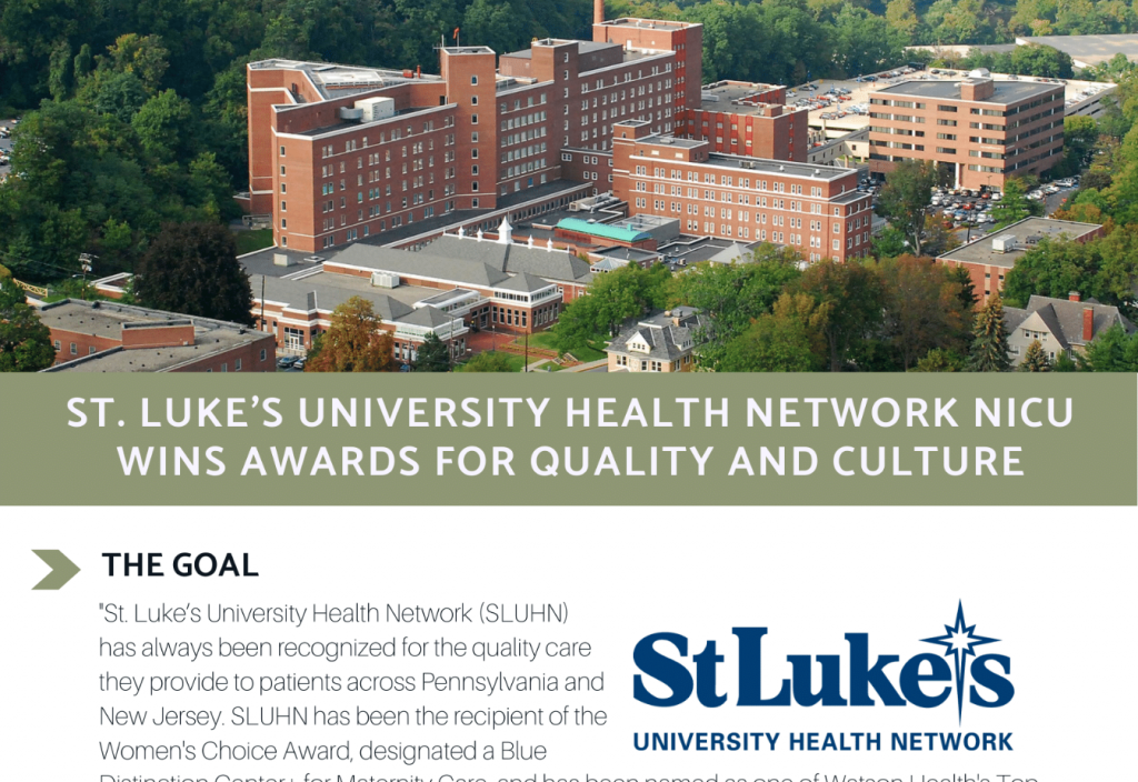 Screen grab of St Luke's University Health Network case study about Onsite Neonatal Partners quality and awards