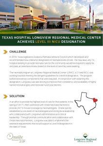 Texas hospital longview regional medical center achieves level III NICU designation thanks to Onsite Neonatal Partners